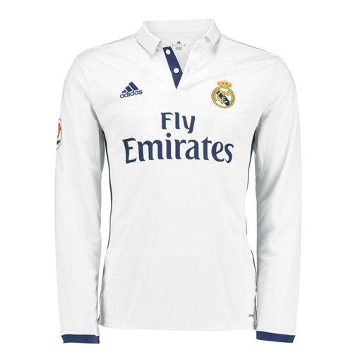 new style 1cc04 34e31 2016-2017 Real Madrid Adidas Home Long Sleeve Shirt (Kids)