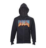 DOOM Men's Full Length Zipper Vintage Logo Hoodie, Medium, Black