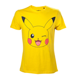 POKEMON Men's Pikachu Winking T-Shirt, Medium, Yellow