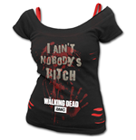 NOBODY'S Bitch - Walking Dead 2in1 White Ripped Top Black