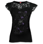 Entwined Skull - Lace Layered Cap Sleeve Top Black
