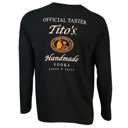TITO'S VODKA Long Sleeve Taster Black Shirt
