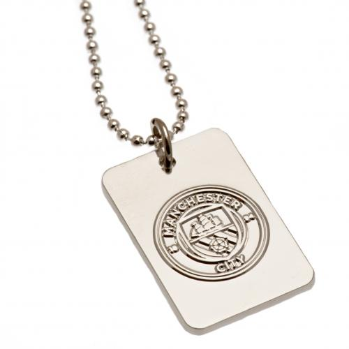 Manchester City F.C. Silver Plated Dog Tag & Chain