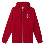 2016-2017 AC Milan Adidas 3S Hooded Zip Top (Red)