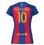 2016-17 Barcelona with Sponsor Womens Home Shirt (Ronaldinho 10)