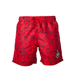 Nintendo - Mario Swimshort Red With Allover Print And Small Mario Head