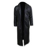 Death Bones - Gothic Trench Coat PU-Leather with Full Zip