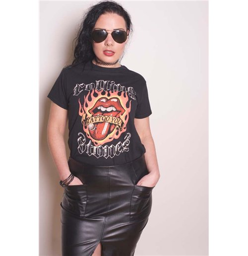 The Rolling Stones Ladies Tee: Flaming Tattoo Tongue