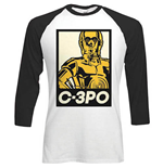 Star Wars Men's Raglan Tee: Classic C3PO Block