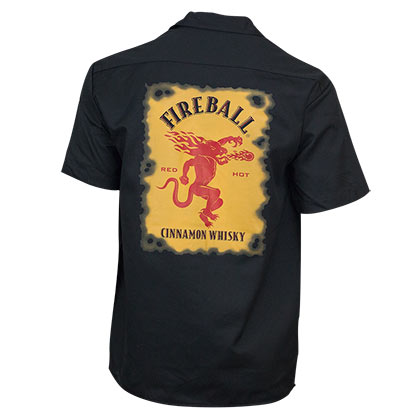 FIREBALL WHISKEY Logo Black Work Shirt