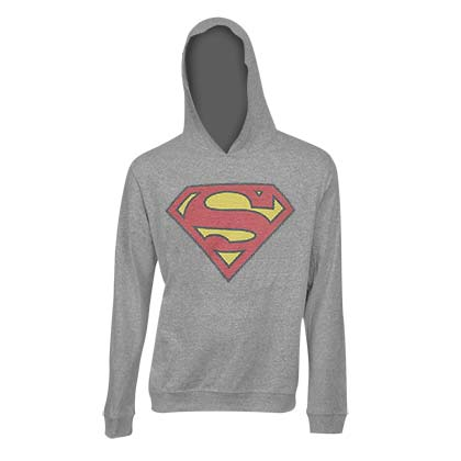 SUPERMAN Classic Logo Grey Hooded Sweatshirt