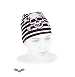 White / black striped beanie with skull