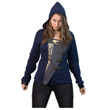 DISHONORED 2 Women's Emily 'Empress' Full Length Zipper Hoodie with Asymmetric Fabric Closure, Large, Dark Blue/Grey