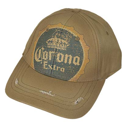 CORONA EXTRA Vintage Bottle Cap Logo Tan Hat