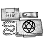 HIM - Silver Leather Wallet With Chain