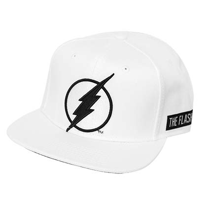FLASH White Snapback Black Patch Hat