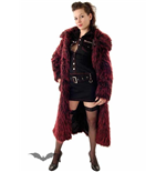 Long black & red fur coat