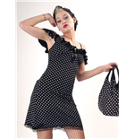 Black dress, white polka dots, thin stra
