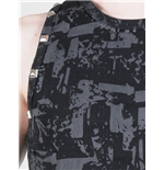 Black top with grey printing and rivets