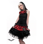 Black tulle pleated skirt with red waist