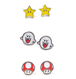 Nintendo - Set of 3 Pair Studd Earrings Boo, Superstar and Mushroom