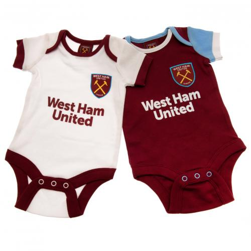 West Ham United F.C. 2 Pack Bodysuit 12/18 mths