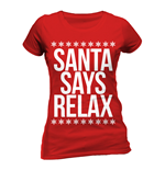 Christmas Generic - Santa Says Relax - Women Fitted T-shirt Red