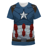 Captain America - Captain America Costume Sublimation - Unisex T-shirt Blue