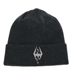 THE ELDER SCROLLS V Skyrim Dragon Symbol Embroidered Cuffed Beanie, One Size, Dark Grey