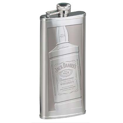 JACK DANIELS Etched Bottle Silver Flask