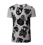 NINTENDO Super Mario Bros. Men's All-over Nappy Print T-Shirt, Large, Grey