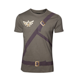 NINTENDO Legend of Zelda Men's Link's Shirt with Belts T-Shirt, Large, Military Green