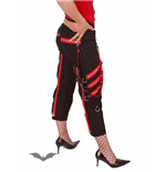 Pinstriped trousers with red zippers and
