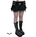 Pleated Skirt with Lace and Metal Skull