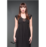 Long sleeveles dress with lace inserts