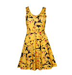 POKEMON Woman's All-over Pikachu Printed Sleeveless Dress, Large, Multi-colour