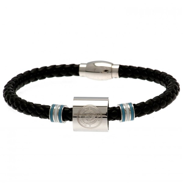 Manchester City F.C. Colour Ring Leather Bracelet