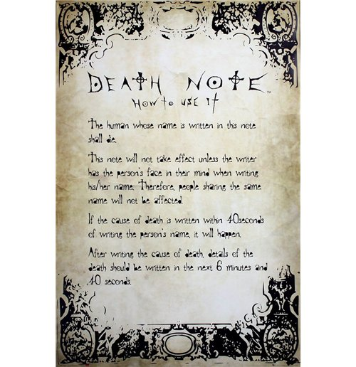 Death Note Poster - Rules - 61x91,5 Cm