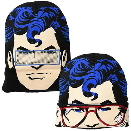 SUPERMAN Sublimation Knit Flip Down Mask Beanie