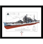 World of Warships Framed Print - Atago - 30x40 Cm