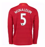 2016-17 Liverpool Home Long Sleeve Shirt (Wijnaldum 5) - Kids