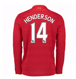 2016-17 Liverpool Home Long Sleeve Shirt (Henderson 14) - Kids