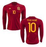 2016-2017 Spain Long Sleeve Home Shirt (Your Name)