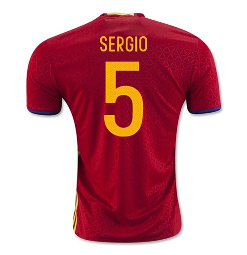2016-2017 Spain Home Shirt (Sergio 5)