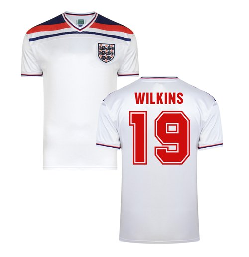 Score Draw England World Cup 1982 Home Shirt (Wilkins 19)