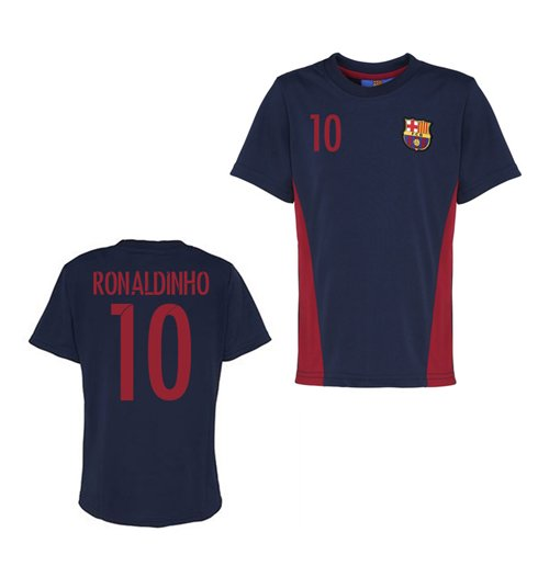Official Barcelona Training T-Shirt (Navy) (Ronaldinho 10)