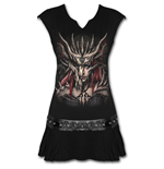 Dragon Mask - Stud Waist Mini Dress Black