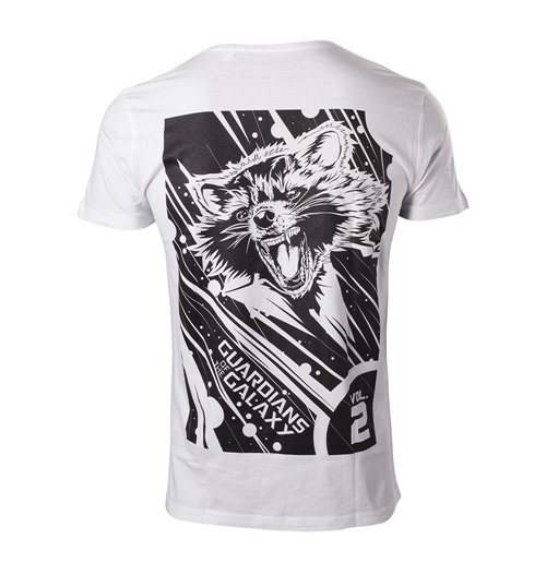 MARVEL COMICS Guardians of the Galaxy Vol. 2 Men's Rocket T-Shirt, Small, White
