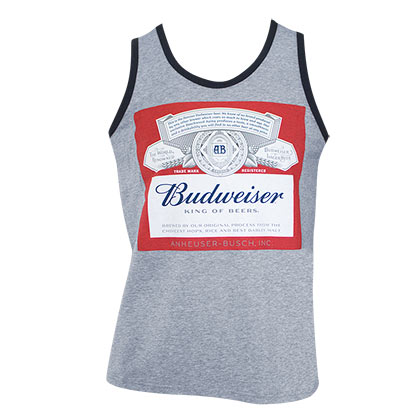 BUDWEISER Bottle Logo Grey Tank Top