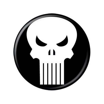 PUNISHER Comic Skull Logo Button